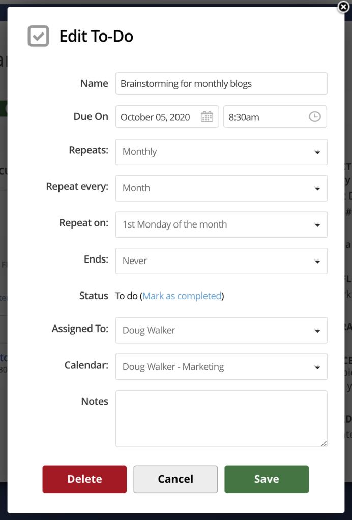 recurring tasks
