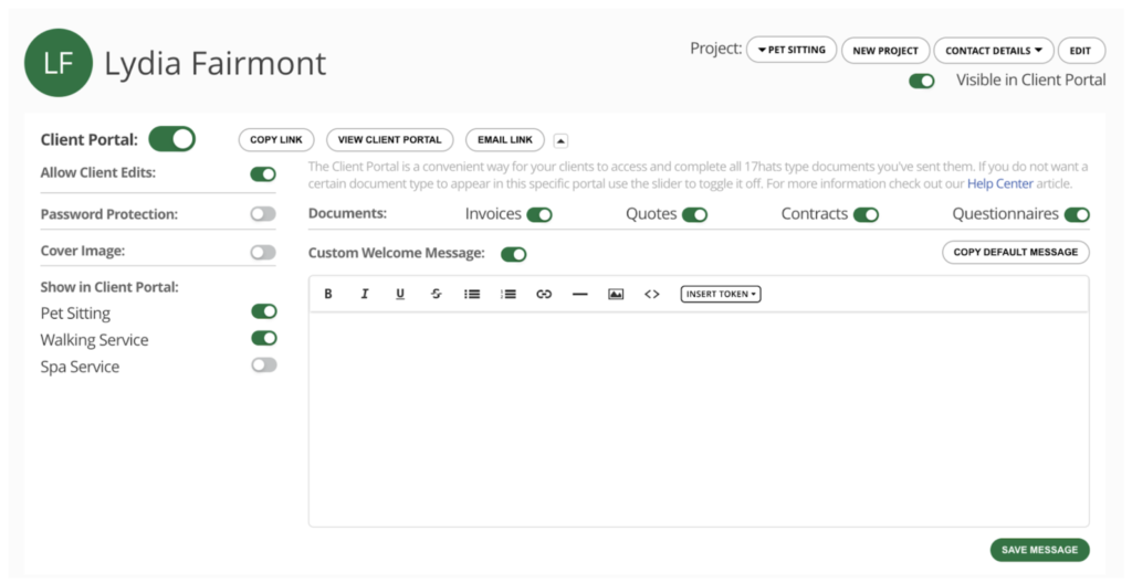 17hats Client Portal New Project Filtering Feature